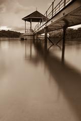 The struggle within (Shutter wide shut) Tags: bridge white black lines sepia canon singapore gazebo lee 7d 1740mm macritchiereservoir leendfilter bigstopper