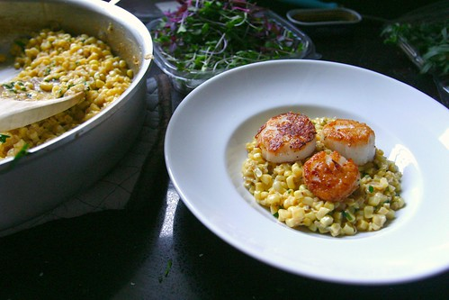 scallops with creamed corn & tarragon
