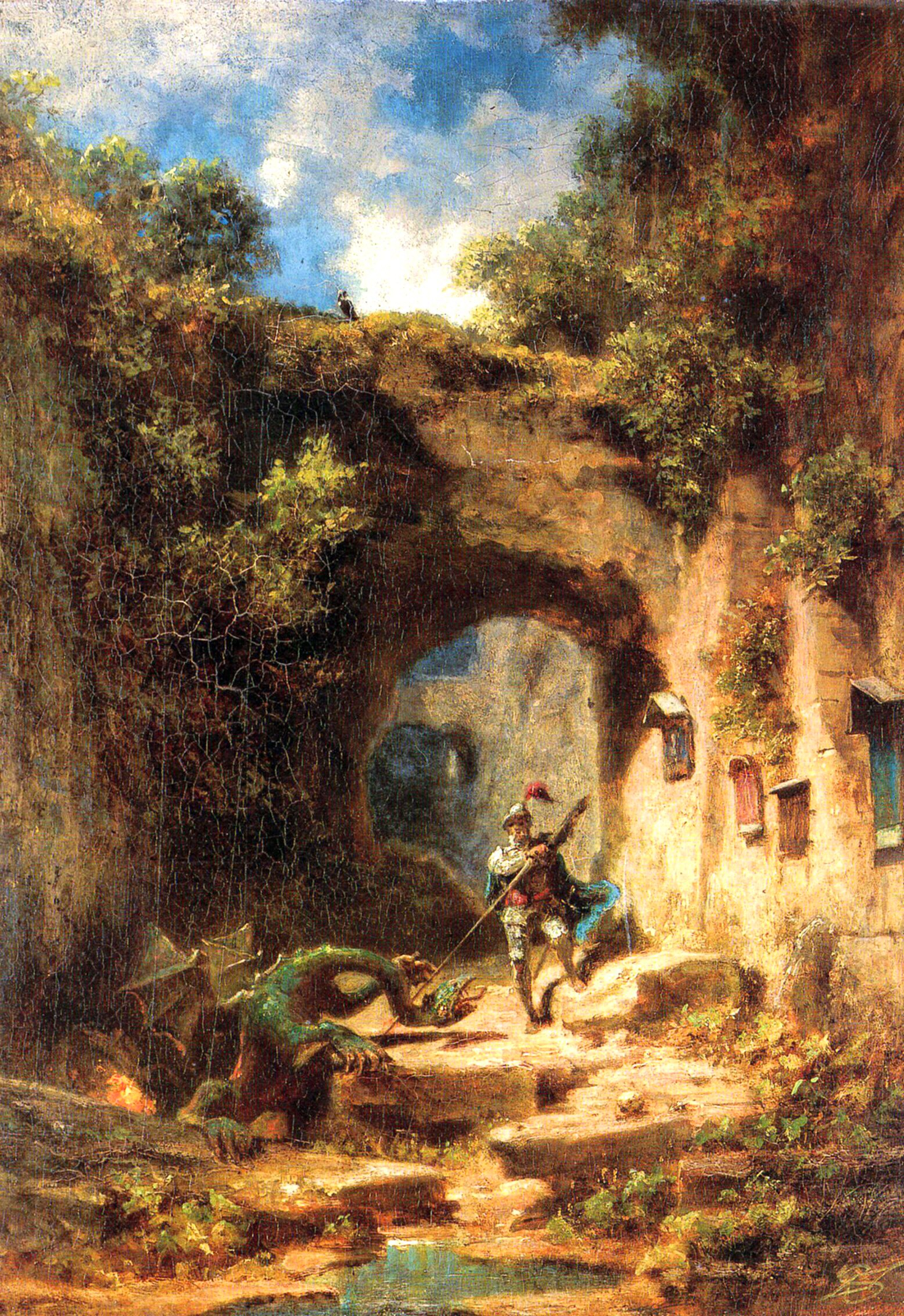 Carl Muenchen Spitzweg -  Knight and dragon