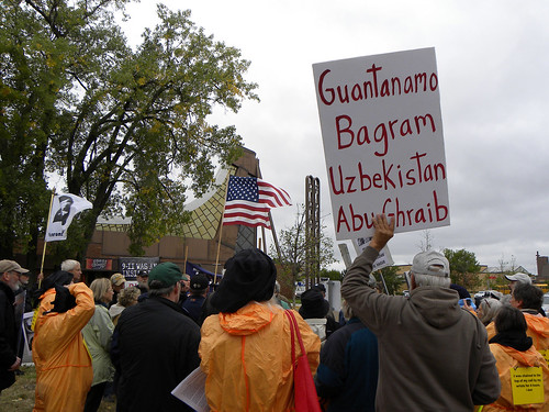 Protest against George W. Bush speaking at Beth El synagogue in St. Louis Park