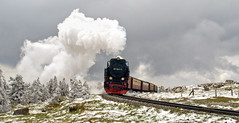 At the Summit (Gerry Balding) Tags: mountain snow train germany smoke engine steam summit brocken locomotive narrowgauge brockenbahn hsb harzerschmalspurbahnen
