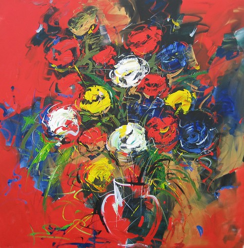 Flowers in red - Painting - Original
