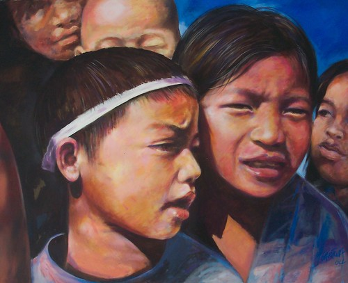 Chicos de Mexico - Painting - Realism