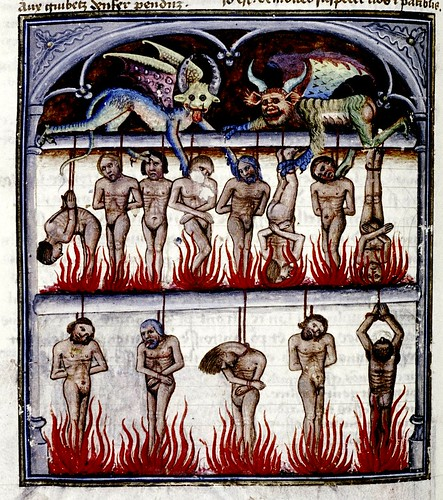 Thieves are hung over fire. French c.1450-70.  bodl_Douce134 by tony harrison