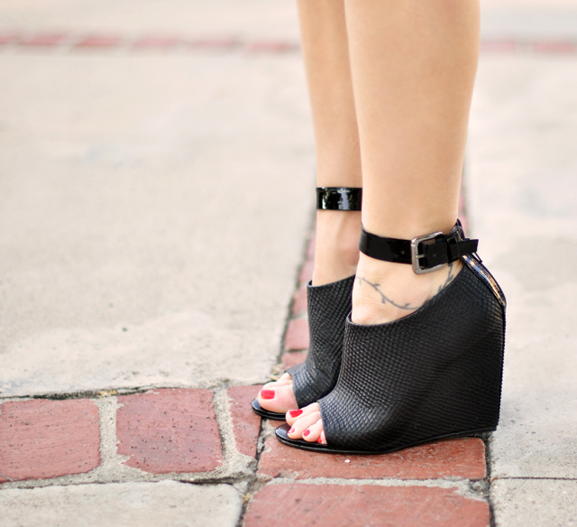 black peep toe wedges with ankle strap buckle