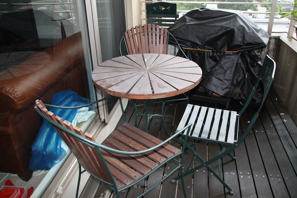 Outdoor wooden table and 4 chairs:  3500 yen OBO