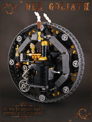 Der Goliath: side view (captainsmog) Tags: wheel rivets tank lego steam round cannon copper contraption minifig goliath gears steampunk moc monowheel shrappnell