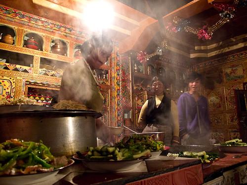 Cooking in Tibetan kitchen
