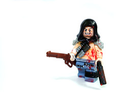 Shotgunner ([N]atsty) Tags: red brown gun lego killing muscle apocalypse rage jeans gore hood bloody shotgun lever apoc protos brickarms