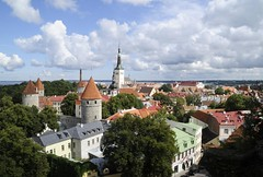 City walls & Oleviste Church, Tallinn (Niall Corbet) Tags: tower church tallinn estonia bastion toompea oleviste