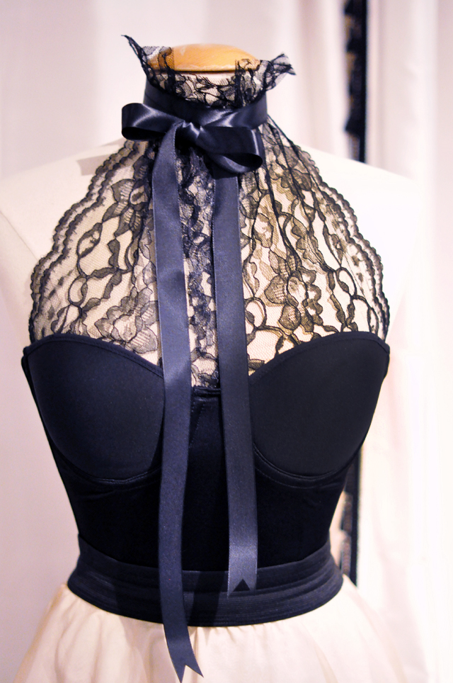 lace halter bustier with bow DIY