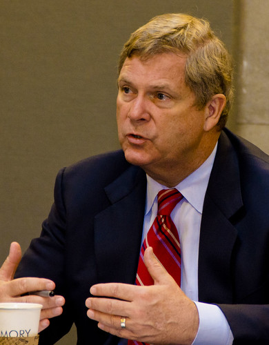 Agriculture Secretary Tom Vilsack of the United States Department of Agriculture explaining the American Jobs Act to a group from the Portland, OR area on Tuesday, September 27, 2011. USDA Photo by Glen Sachet.
