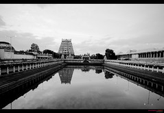 Nataraj Temple tank, Chidambaram (Sudhamshu) Tags: bw india reflection water architecture clouds temples vignette tamilnadu chidambaram lordshiva 1022f3545 vimana templetank thillainatarajakoil