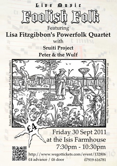 Flyer for September's Foolish Folk event, with a woodcut illustration and a list of the bands