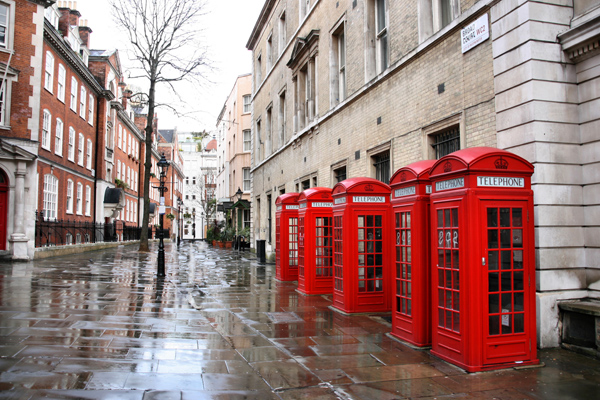 Street with London Iconic Telephone Booths - Flight Centre NZ