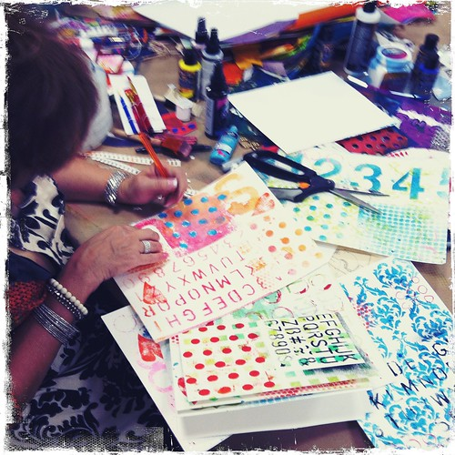 student creating DREAM BIG art journal pages at TCC!