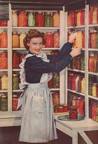 Image from old magazine - woman in pantry