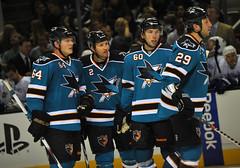 #64 Jamie McGinn,  #2 Jim Vandermeer, #60 Jason Demers, #29  Ryane Clowe (buffalo_jbs01) Tags: hockey vancouver nhl nikon san jose sharks canucks d3s 60jasondemers 64jamiemcginn 29ryaneclowe 2jimvandermeer