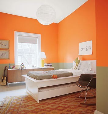 Bold orange bedroom: 'Calypso Orange' by Benjamin Moore by xJavierx