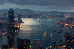 Hong Kong :: Victoria Harbour (Clementqc) Tags: china longexposure travel blue light building skyline architecture hongkong nikon asia cityscape towers central business nikkor  skycrapers 80200mm victoriaharbour pearloftheorient 80200f28d 80200mmf28dafs d700