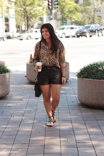 Leopard and black shorts