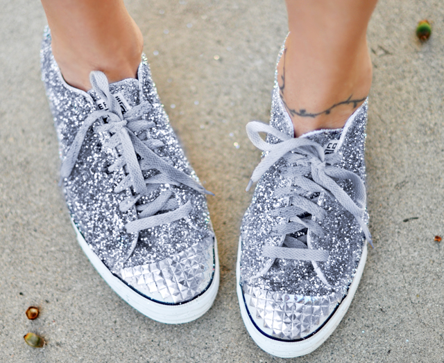 glitter DIY, converse one star DIY, Miu Miu glitter shoes, glitter sneakers DIY, faux studded steel toe - converse - target