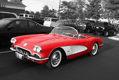 red white black chevrolet car vintage cherry illinois niceshot sony il chevy colorized corvette roscoe a300