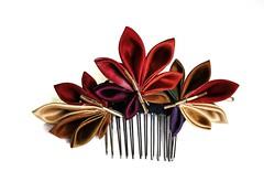 Fall Kanzashi: leaves kanzashi leaves 01 (Bright Wish Kanzashi) Tags: flower handmade hairornament tsumamikanzashi ornatehairpin japanesetechnique