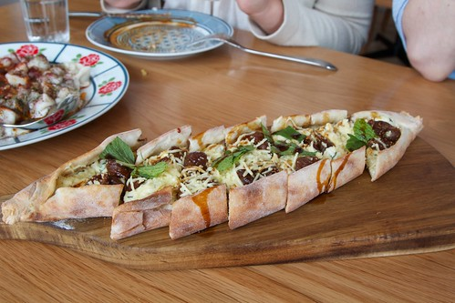 Pide with mint, ricotta, haloumi and peppered figs
