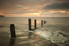 Teignmouth (MartynHall (Gaining interest)) Tags: uk morning sea england sun sunrise pier early seaside sand waves wave devon groyne teignmouth
