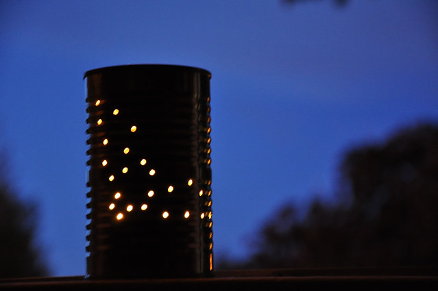 halloween themed tin can lantern