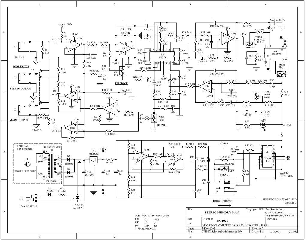 stereo memory man chorus echo with no delay memory schematic