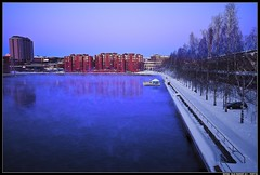 Blue moment (penttja) Tags: blue winter sunset snow cold water canon finland frost freezing birch moment tampere 500d laukontori ratina bluemoment ratinansuvanto hotelilves penttja