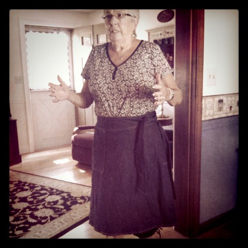 Gram trying on skirt Dave made me. See her capris hanging out
