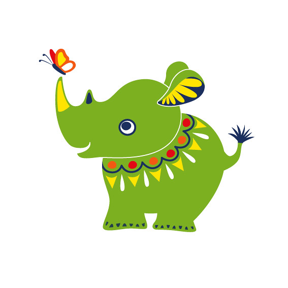 green rhino illustration for baby swimsuits