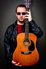 Paul (ChrisJohnston82) Tags: portrait people music leather rock canon rockstar guitar shades jeans acoustic canoneos leatherjacket acousticguitar 400d canoneos400d canon400d