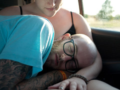 Ally & Taylor (BurlapZack) Tags: car tattoo beard sleep roadtrip catnap sleepy rayban tuckeredout hurricaneharbor arlingtontx panasoniclumixdmcgf1 panasoniclumix20mmf17 toocuteformetodealwith