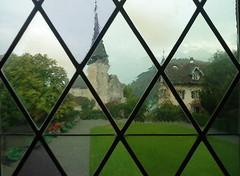 View of Schlosskirche from Schloss Spiez (karenblakeman) Tags: glass switzerland august leaded thunersee spiez schlosskirche 2011 lakethun castlechurch schlossspiez spiezcastle