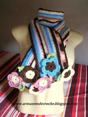 Cachecol Colors (Armazm de Croch) Tags: flores flower colors scarf crochet inverno cachecol croch