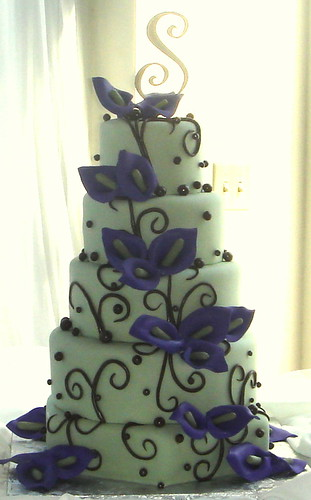 purple and green wedding cake
