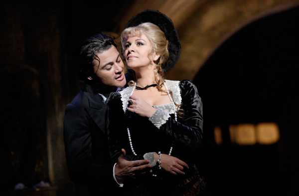 "Vittorio Grigolo as Faust and Angela Gheorghiu as Marguérite in Faust in David McVicar's Faust. Royal Opera House 2010/11. <a href=""http://www.roh.org.uk/whatson/production.aspx?pid=16842"" rel=""nofollow"">www.roh.org.uk/whatson/production.aspx?pid=16842</a>  Photo by Catherine Ashmore"