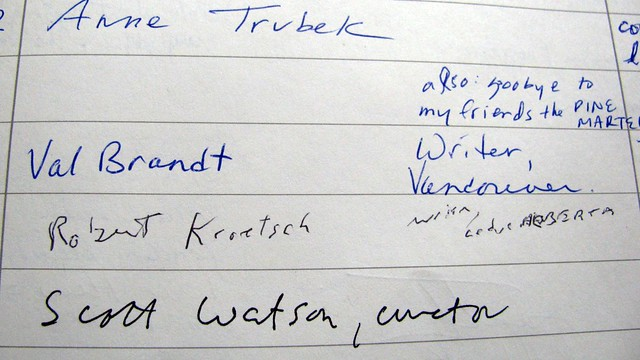 Entries from the guestbook.