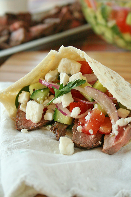 greek steak salad pita2