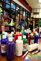 Paint (Ryan.Berry) Tags: school windows people window glass colors canon painting illinois paint bottles glenellyn highschool depthoffield homecoming week ladder variety 60d temperpaint