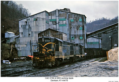 C&O 5769 & 5883 working coal tipple (Robert W. Thomson) Tags: railroad train diesel kentucky railway trains co locomotive trainengine chessie dunham geep emd chessiesystem chesapeakeohio gp7 fouraxle
