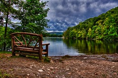 Room to sit with a view... (RichHaig) Tags: lake ny clouds parkbench hdr bearmountainstatepark hessianlake nikond90 3exposurehandheld
