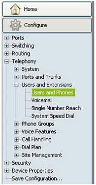 Users and Phones Menu
