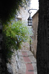 The narrow passages in ze (zawtowers) Tags: flowers blue light cliff plants holiday france way french riviera village bell walk top medieval historic september growing cote passage narrow dazur 2011 ze