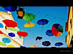Umbrella Party (Halea-Kala) Tags: party summer portugal colors beautiful umbrella vacances calle nikon fiesta colores verano alegria mirada magical paraguas vacaciones pueblos holydays evora magico