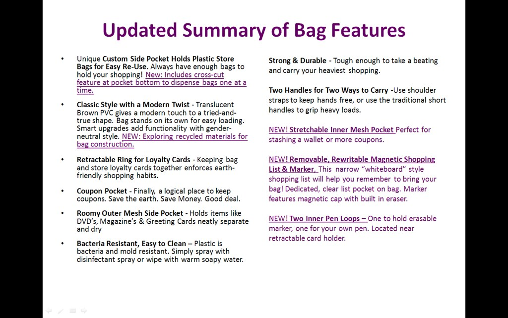 Sidekick7 - Updated Summary of Bag Features